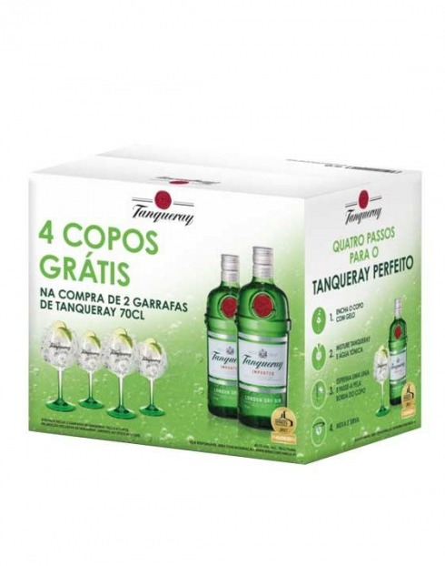Garcias - Vinhos e Bebidas Espirituosas - GIN TANQUERAY PACK (2GFS 0,70L + 4 COPOS) 1