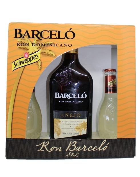 Garcias - Vinhos e Bebidas Espirituosas - RUM BARCELÓ ANEJO COM 2 GARRAFAS DE SCHWEPPES GINGER BEER 1