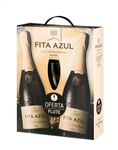 Garcias - Vinhos e Bebidas Espirituosas - VINHO ESPUMANTE FITA AZUL RESERVA MEIO SECO PACK 2GF + FLUT 1