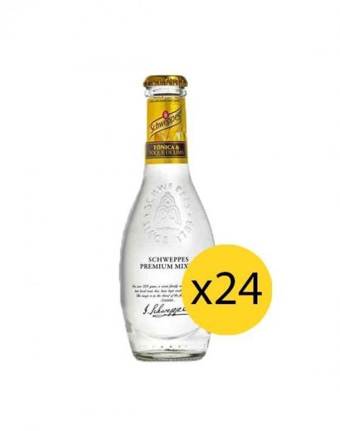 Garcias - Vinhos e Bebidas Espirituosas - ÁGUA TÓNICA SCHWEPPES PREMIUM TOQUE DE LIMA 0,20cl (PACK 24 GFS) 1