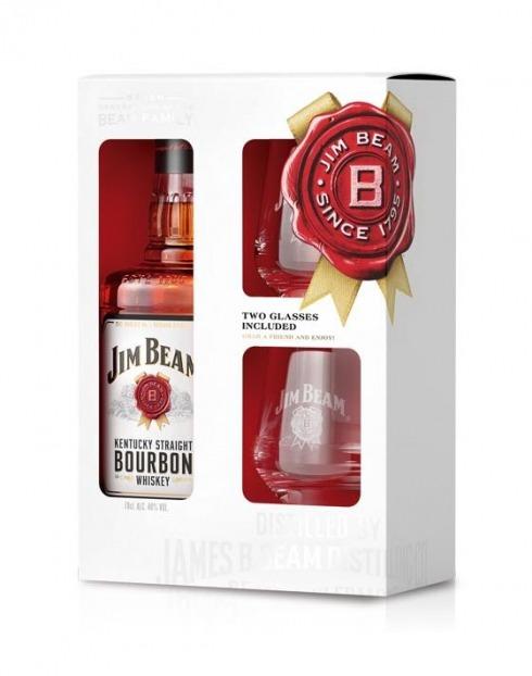 Garcias - Vinhos e Bebidas Espirituosas - WHISKY BOURBON JIM BEAM C/ 2 COPOS 1