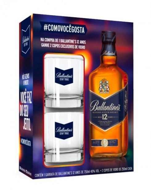 Garcias - Vinhos e Bebidas Espirituosas - WHISKY BALLANTINES 12A C/2 COPOS 1