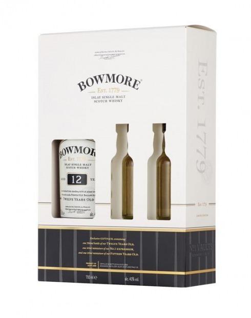Garcias - Vinhos e Bebidas Espirituosas - WHISKY MALTE BOWMORE DOUBLE 12A C/ 2 MINIATURAS 1