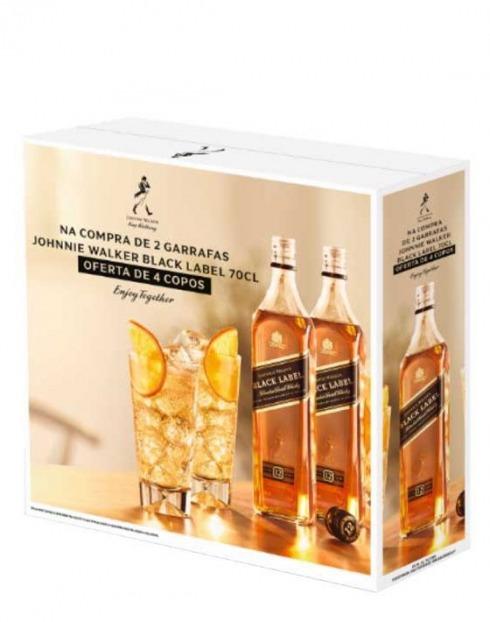 Garcias - Vinhos e Bebidas Espirituosas - WHISKY JOHNNIE WALKER BLACK LABEL 12A PACK (2GF + 4 COPOS) 1